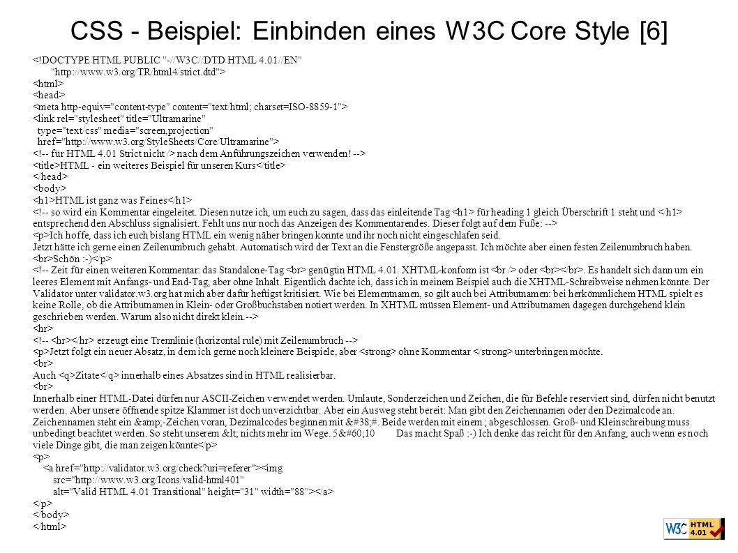 CSS - Beispiel: Einbinden eines W3C Core Style [6]